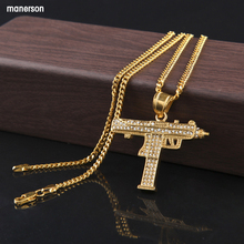 2018Hip Hop Gun Pendant Necklace For Men Women Gold Color Ice Out Cz Diamonds Csgo Charm Pendant Fine Quality Gold Cuban Chain