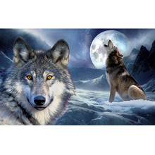 Wolf full square embroidery Diamond 5D DIY diamond Painting Cross Stitch picture of Mosaic Rhinestone Y0081 fullcang diy 5pcs full square diamond embroidery wolf and scenery diamond painting cross stitch 5d mosaic needlework kits d952