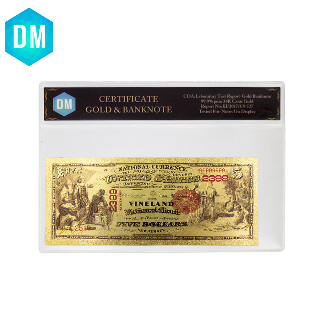 1875 Year 5 Dollar Gold Banknote 24k Plated Us Note Money Value Collectable Fake In Coa Sleeve