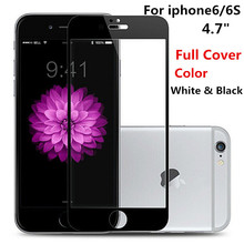 9H Full Cover Color White Black Tempered Glass For Apple iphone 6 6S 4 7 inch