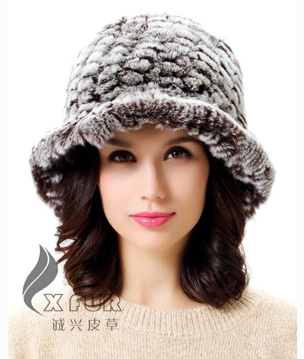 CX-C-27B для девочек, Модная вязаная шапка с кроликом Рекс, Корейская зимняя шапка - Цвет: Коричневый