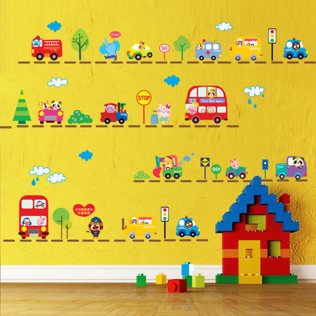 Zoo animals many of the cars lined up small wall stickers trucks bus wall sticker vinyl
