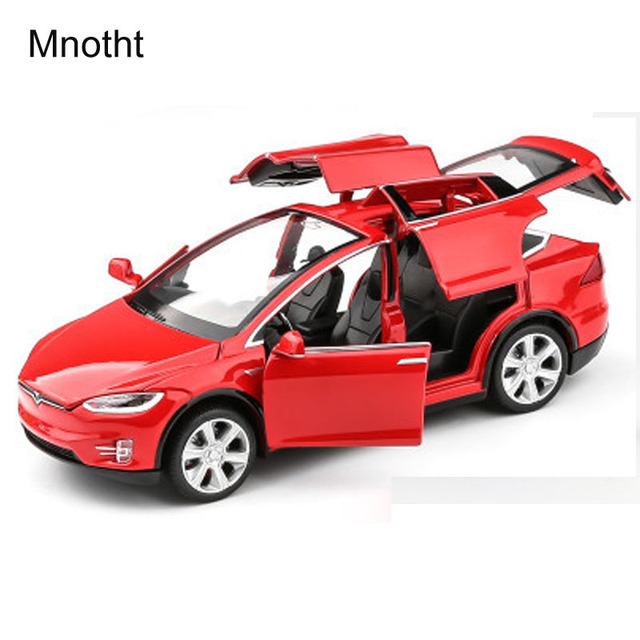 mnotht 132 tesla modelx90 car models with sound light pull back kids toys brinquedos