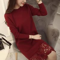 new lace stitching dress Long Sleeve Long Knitting ladies Dresses