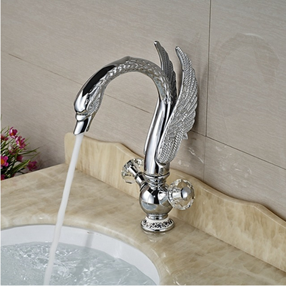 Uythner Modern Chrome Swan Deck Mount Crystal Dual Handles Bathroom Faucet Mixer Tap
