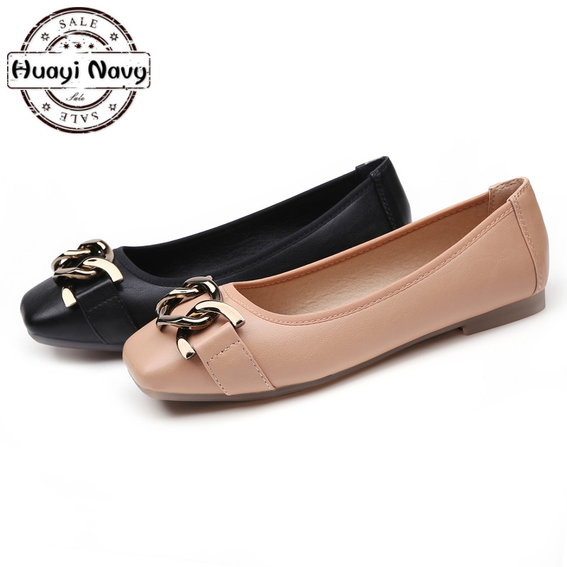 New 2019 Fashion Women Ballet Flats Square Toe Black Pink Leather With Metal Decoration Dress Shoe Ballerina Flat Plus Size35 41