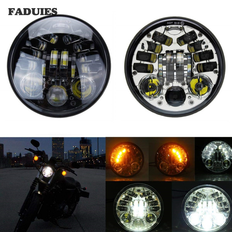 5.75 Inch Round Headlamp for Harley Dyna Sportster 1200 48 <font><b>883</b></font> Turn Signal Light 5-3/4