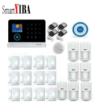 SmartYIBA 3G WIFI RFID APP Control Wireless Alarmes Blue Strobe Siren Smoke Alarm Door Gap Sensor etc. Home Security Alarm Kits