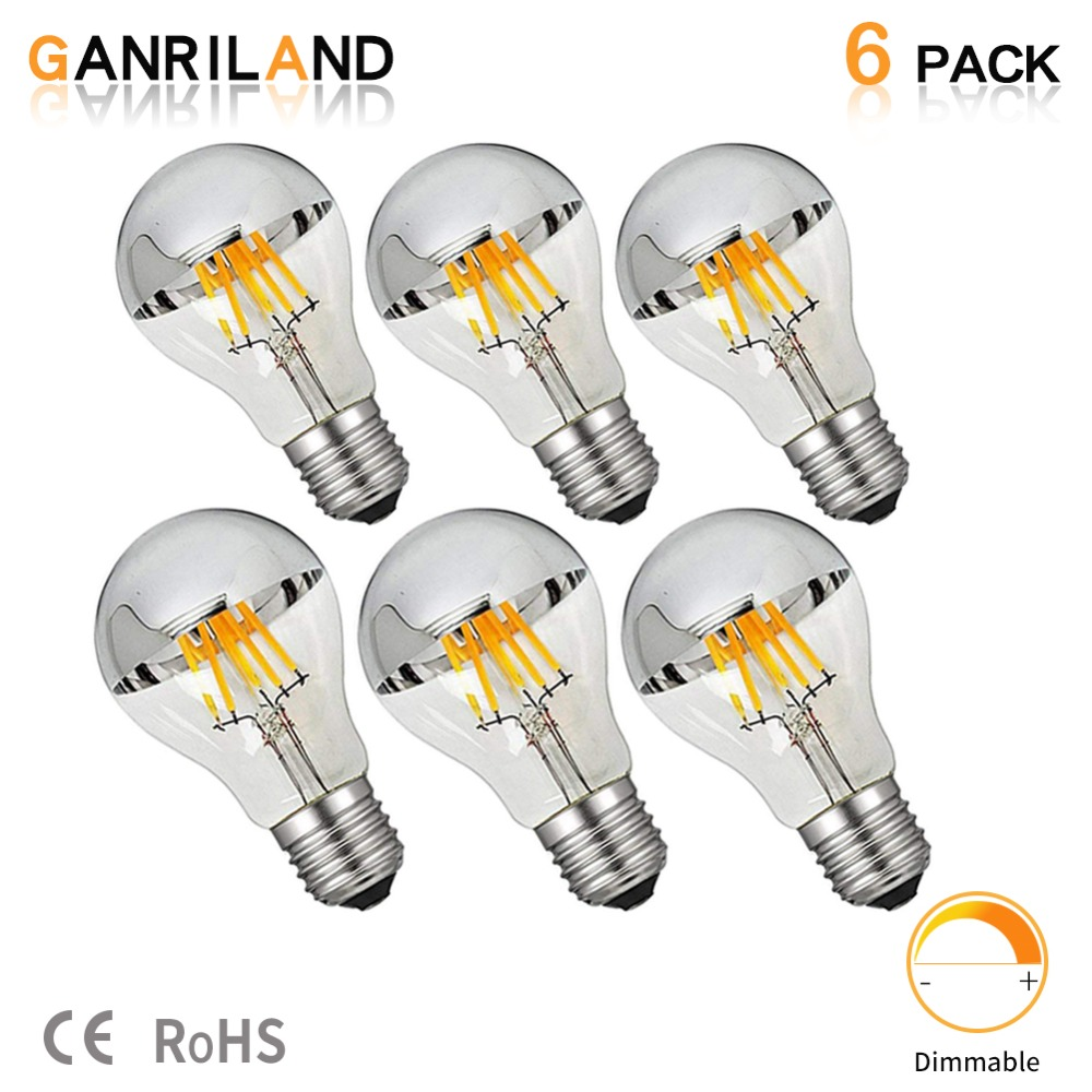 GANRILAND LED A19 Silver Bowl Vertical Filament Bulbs 800 Lumens 8 Watt CRI 85 Warm White 2700K Cool White 6000K Clear Dimmable
