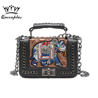 New Fashion Cartoon Elephant Bags Women Appliques Women Handbags Small Flap Square Bag With Chain