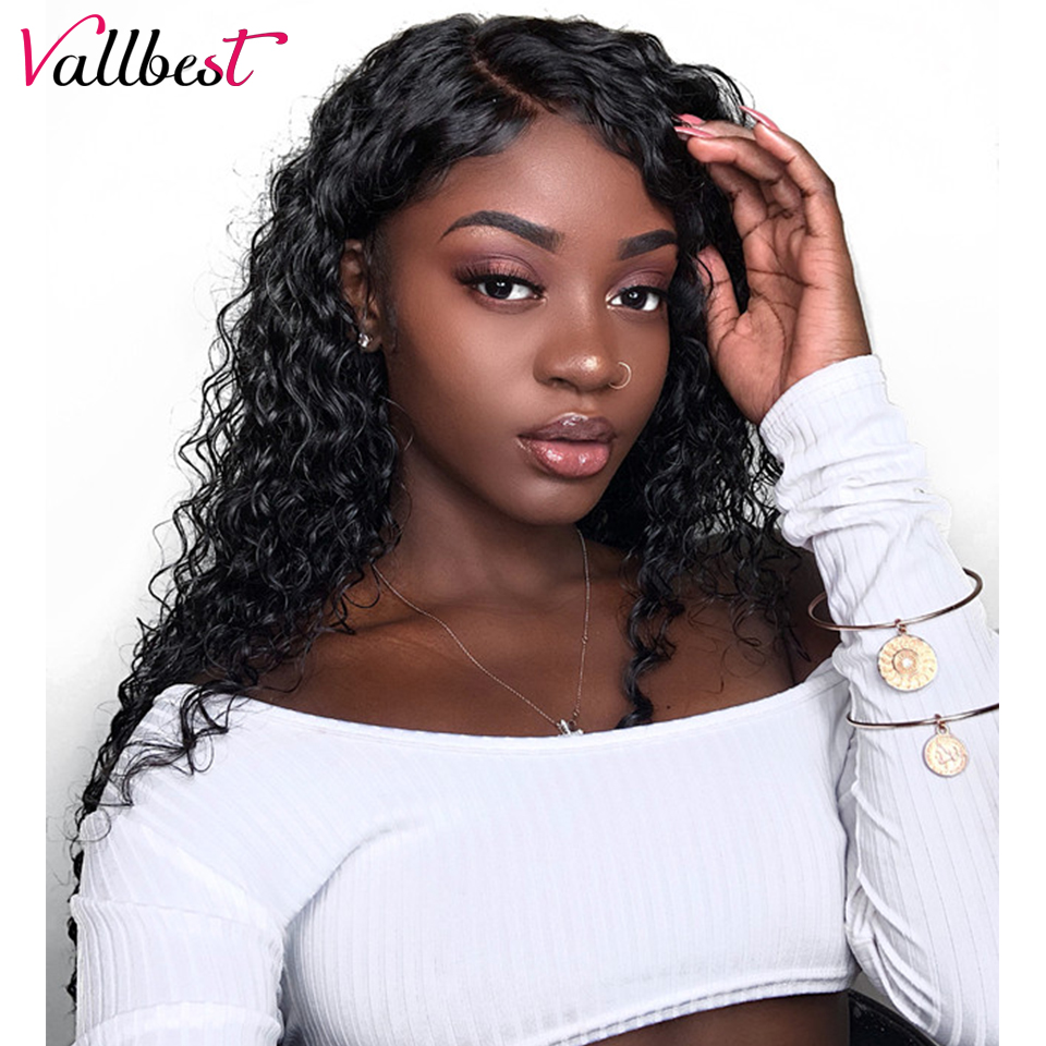 Vallbest 360 Lace Frontal Wig Peruvian Water Wave Lace Front Human Hair  Wigs For Black Women Adjustable Strape Cap Remy Lace Wig 2f834b33ba