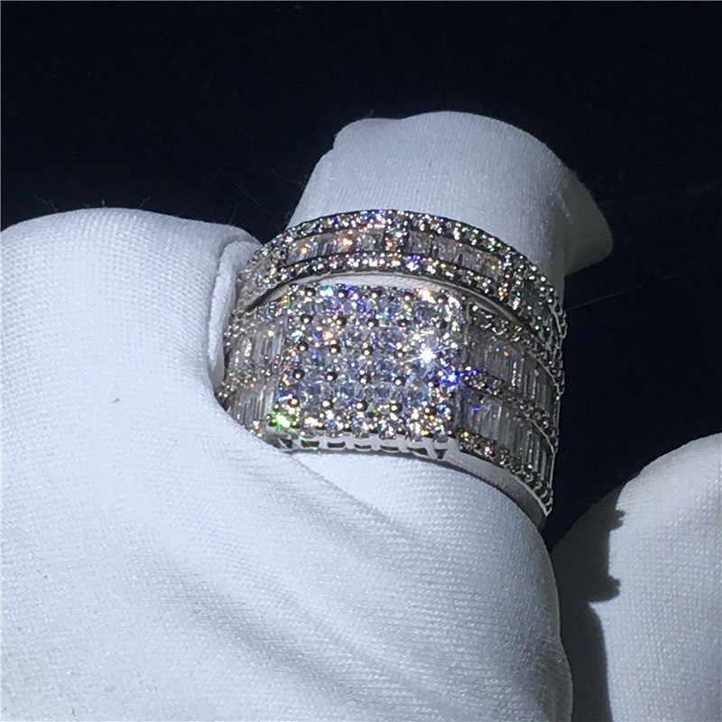 Choucong หรูหราแหวนชุดเจ้าหญิงตัด 5A Zircon Cz 925 เงินสเตอร์ลิงแหวนหมั้นแหวนผู้หญิงผู้ชายของขวัญ