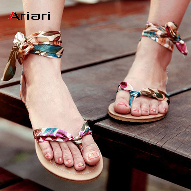 Women Sandals Summer Shoes Plus Size34-52 Flat Beach Sandals Flip Flop Casual Ribbon Ankle Strap Bohemia Gladiator Roman SandalsWomen Sandals Summer Shoes Plus Size34-52 Flat Beach Sandals Flip Flop Casual Ribbon Ankle Strap Bohemia Gladiator Roman Sandals