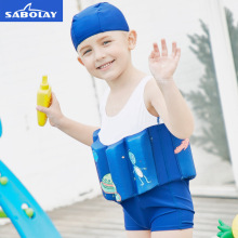 SABOLAY Children's Blue Cartoon Swimwear One-Piece Suits Vest Floating Buoyant Swimming Suits Boys Buoyancy Swimsuit Bodysuit sabolay girls buoyant swimming suits children one piece swimwear baby life saving conjoined vest floating swimsuit rash guard