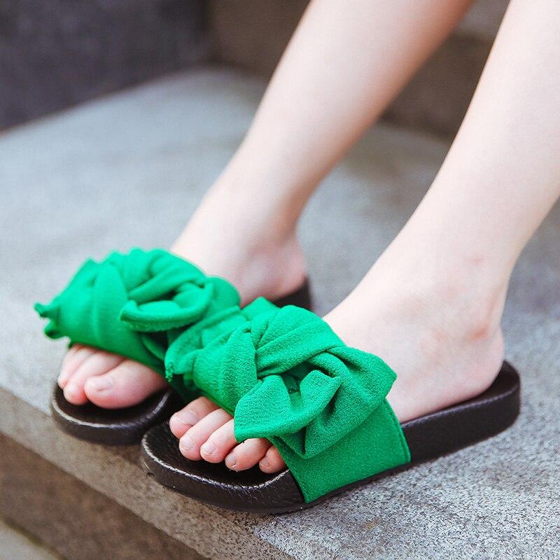 503e2715908 Bowtie Slippers 2018 Summer Children s Sandals Girls Slippers Indoor  Bathroom Parent-child Anti-skid Cute Princess Sandals Kids