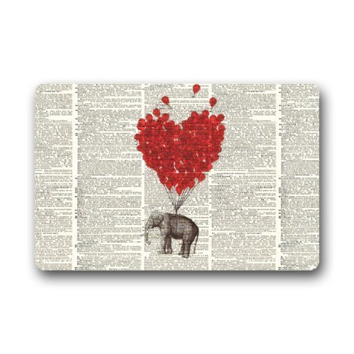 Memory Home Non-Slip Entryways Vintage Dictionary Page Art Elephant Red Balloon Picture Indoor Outdoor
