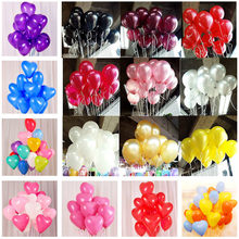 10pcs/set 10 inch Black Latex Balloon Wedding Decorations Air Balls Kid Happy Birthday ballon Event Party Balloons Baby Shower(China)