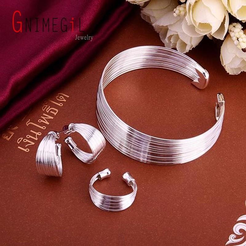 GNIMEGIL Wholesale 925 jewelry Silver Plated Jewelry Set, Fashion Jewelry Set Multi-Stands Ring Earrings Bangle Female de Bijoux