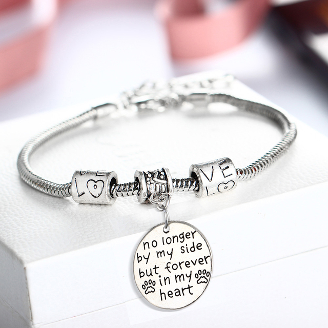 Bespmosp No Longer By My Side But Forever In Heart Dog Pet Paw Footprint Bracelet