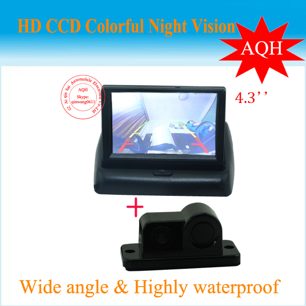 3 In 1 Free Shipping Integrated car rear view camera with visible parking sensor and buzzer IR night vision Parking Assistance free shipping car visible parking sensor system 4 3 inch lcd monitor and waterproof parking rear view camera reversing sensor
