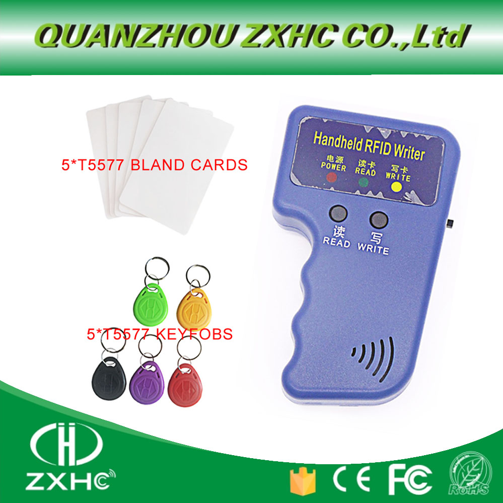 De tarjetas de identificación 125 KHz RFID copiadora lector y escritor de duplicador de T5577 EM4305 copia + 5T557CARDS + 5T5577 llaveros