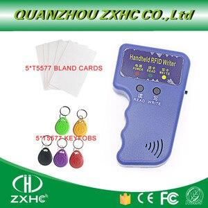 Tarjetas de Identificación de mano 125KHz RFID copiadora lector escritor duplicador utilizado para T5577 EM4305 copia + 5T557CARDS + 5T5577 KEYFOBS