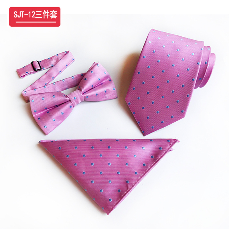 Classic  Pink Background Color Blue Dot Ties&Bow Tie&Hanky Set Silk Jacquard Steady Pink Dress Accessory Fit Business Activities