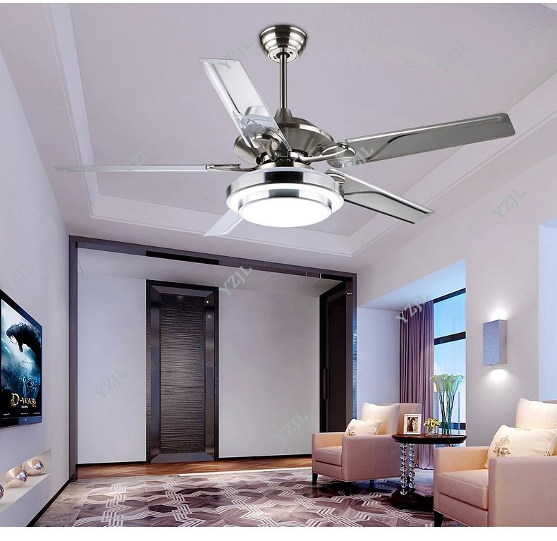 Stainless Steel Ceiling Fan Light Living Room Restaurant Sectors LED European Modern Minimalist Lamp Fans 52inch In From Lights