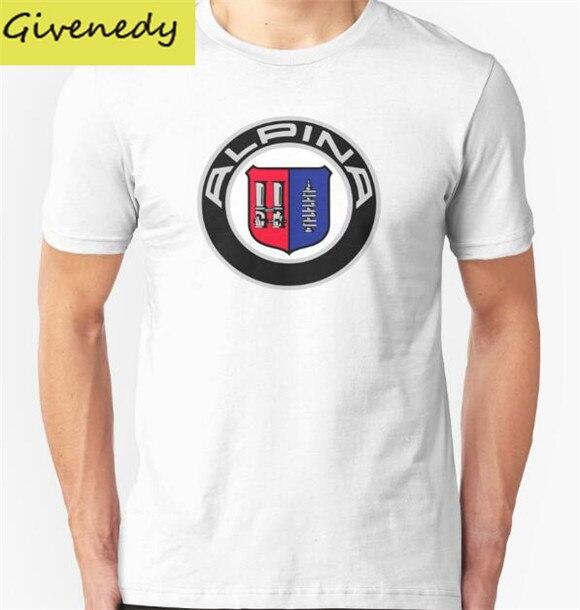 Alpina-Классический Автомобиль Логотипы печати 2016 Новый Дизайн Летом 100% хлопка с коротким рукавом О-Образным Вырезом мода Повседневная футболка Плюс Размер