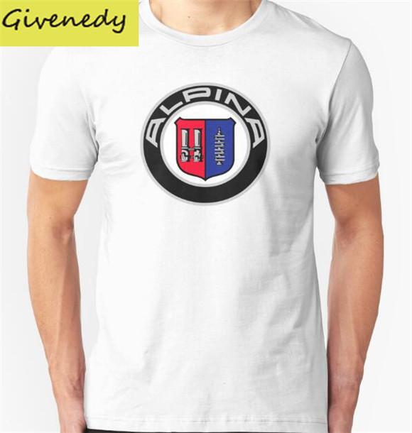 Logotipos Do Carro Alpina-Clássico Design de impressão 2016 Nova Verão 100% algodão de manga curta O Pescoço moda Casual t-shirt Plus Size
