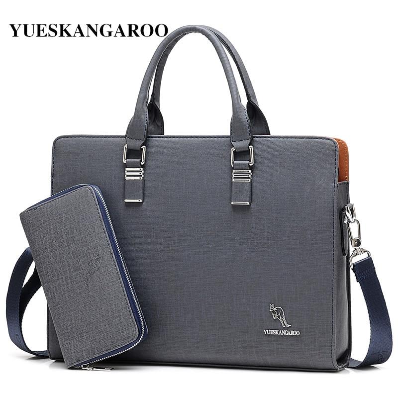 YUES KANGAROO 2018 Brand Man's Laptop Briefcase Business Handbag Large Capacity Messenger Bags Male Vintage Men's Shoulder Bag
