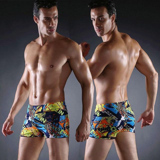 Новинка 2016 г. мужские купальники сексуальные плавки низкой талией шорты с принтом Боксеры спортивный костюм Мужская удобный купальник человек