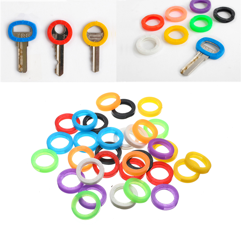 32pcs/lot Mixed Color Hollow Rubber Soft Keys Locks Cap Key Covers Topper Keyring Elastic Case Round Soft Silicone