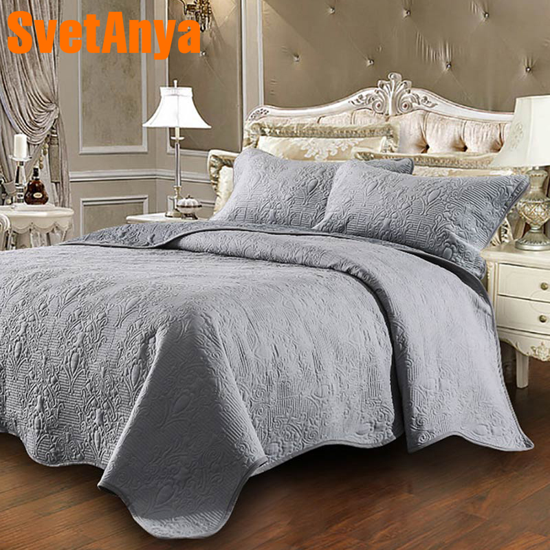 Svetanya Embossing Coverlet thick bed Sheet 230x250cm 2 pillowcases bedspread stiching Bedcover