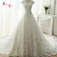 Jark Tozr Mới Đặc Biệt Cap Sleeve Lace Up Flowers Váy Appliques Pha Lê Chapel Train Chúa Wedding Dress 2018 Vestido Longo