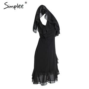 Image 5 - Simplee Ruche koude schouder witte jurk vrouwen Hoge taille wrap chiffon jurk vestidos Streetwear riem casual summer dress 2018
