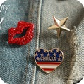 Hot Sale Crystal Rhinestone Metal Badges Red lips/gold color star/heart Brooch Pins Costume Jewelry For Women Broche Mujer