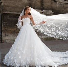 LORIE White Princess Wedding Dress Sweetheart Backless Lace Bride With 3D Butterfly Boho Gown Up Back