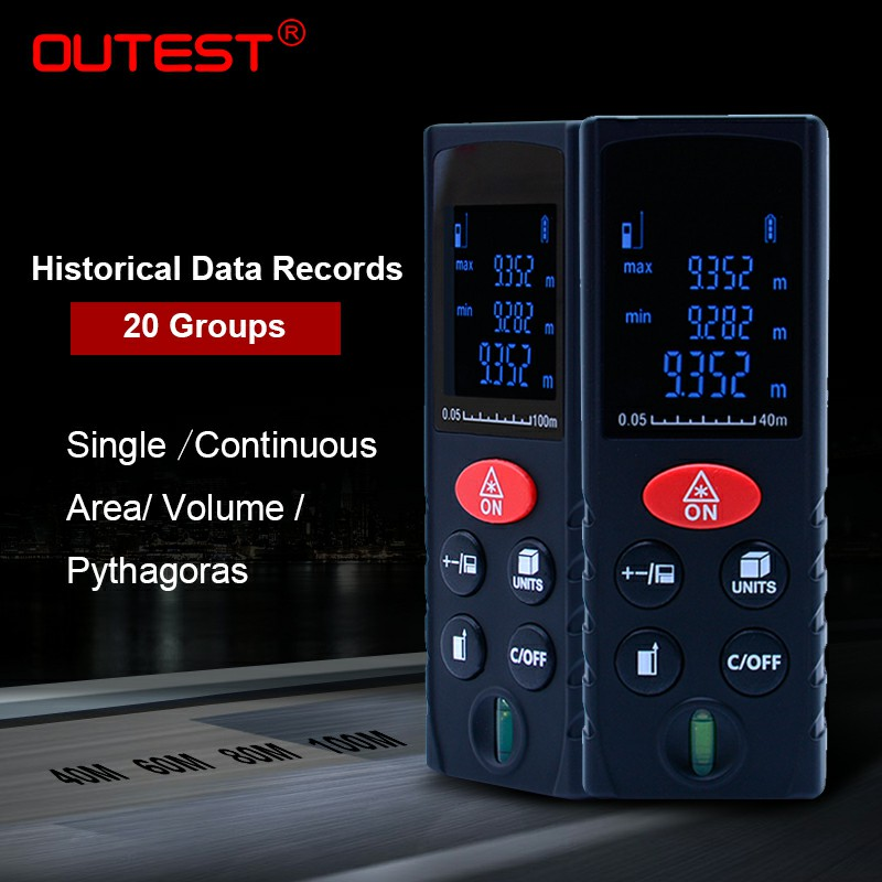 OUTEST digital laser distance meter 100m 80m 60m 40m laser rangefinder laser Roulette ruler trena tape with electronic level mastech ms6414 40m laser distance meter electronic ruler laser ruler laser line distance measuring instrument