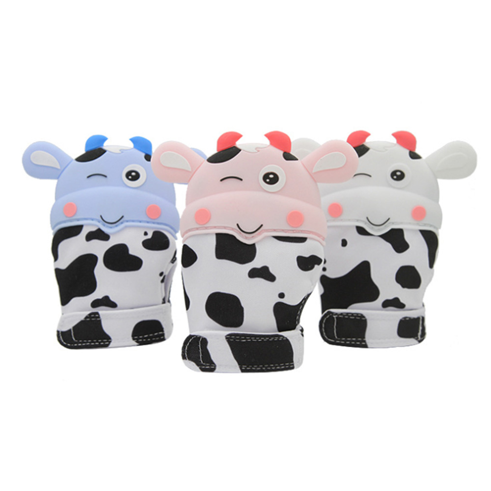 Cute Cow Silicone Teether Baby Pacifier Glove Newborn Teething Chewable Mittens