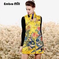 Chinese style royal embroidery coat women autumn & winter vintage elegant lady floral vest coat Parkas female M XXL