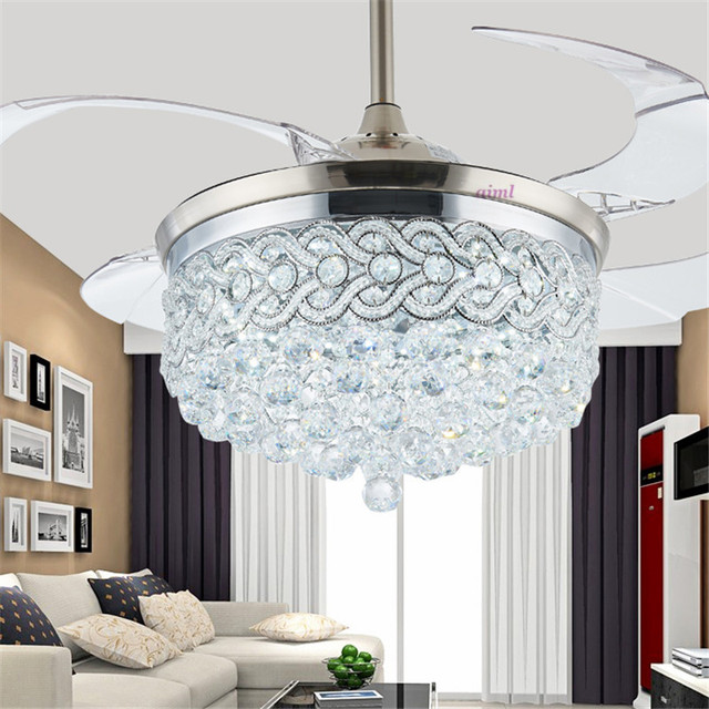 Ceiling Fan 100-265V 42inch LED Chrome Crystal Ceiling Light Living Room Folding Ceiling Fan Remote Control Decorative home Lamp