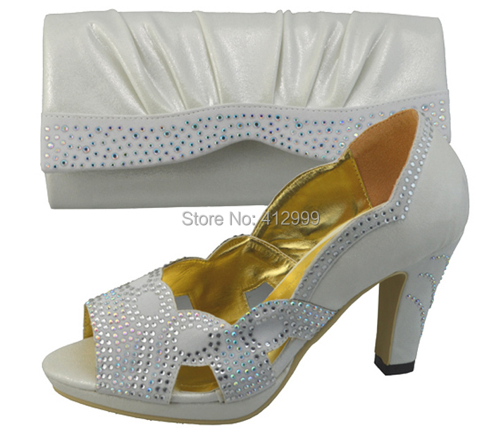 FREE SHIPPING Popular Wedding Shoes And Bag To Match Italy Silver Color Wedding Heel Shoes