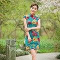 Tang Espectáculo Vestido de 2016 Nuevo de Las Mujeres de Lino de la Vendimia sexy Mini Cheongsam Qipao Chino Clásico Vestido de Las Mujeres Vestido de Fiesta de fiesta