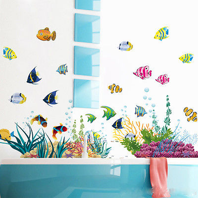 Sea World Grass Fish Reef Under Sea Shark Fish 3D Cartoon Waterproof Vinyl  Wall Decals Vinyl Decal Kid Room Nursery Decor Mural In Wall Stickers From  Home ...