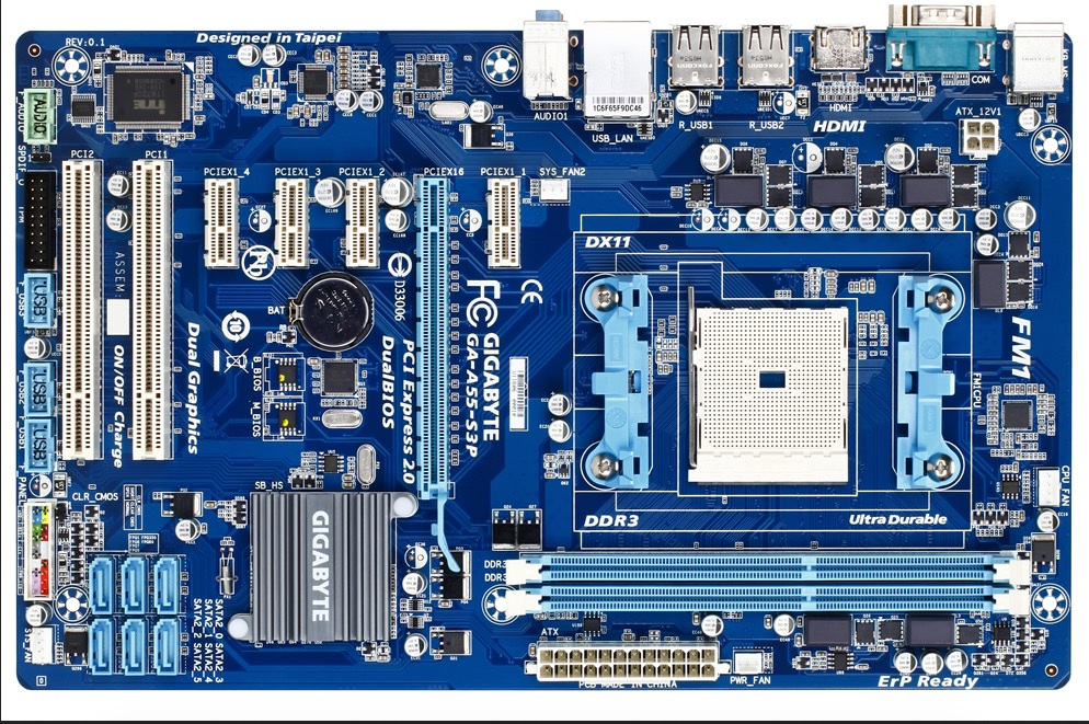 D'origine carte mère Gigabyte GA-A55-S3P Socket FM1 DDR3 A55-S3P USB2.0 32 GB SATA II A55 De Bureau carte mère Livraison gratuite