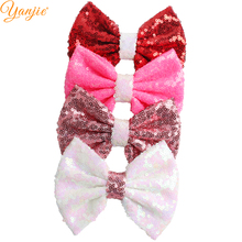 12pcs/lot 5'' Sequin Bows For Girls 2021 Valentine's Day Gift DIY Messy Glitter Kids Hair Bow Barrette Hair Accessories Headwear