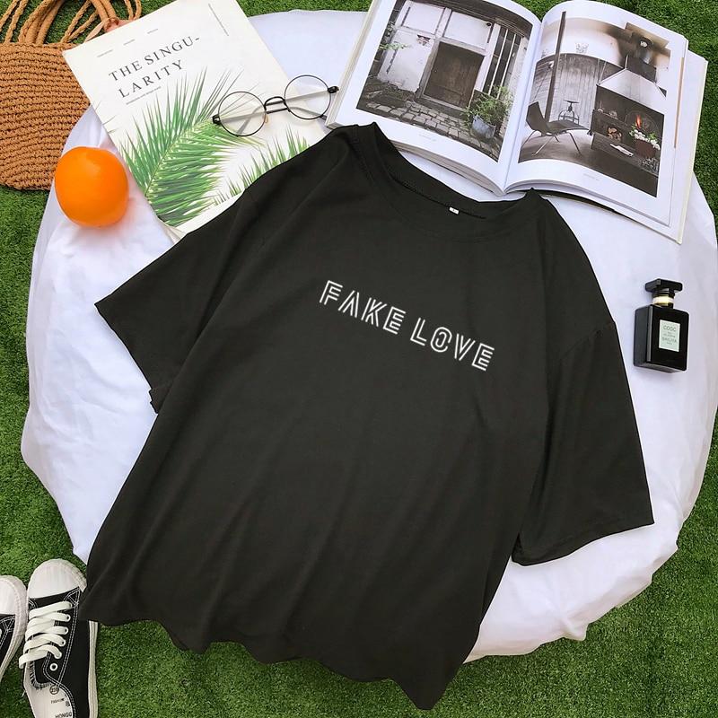 Novo algodão harajuku carta impressão tshirt feminino verão manga curta topos & t moda casual coreano kpop falso amor álbum t camisa