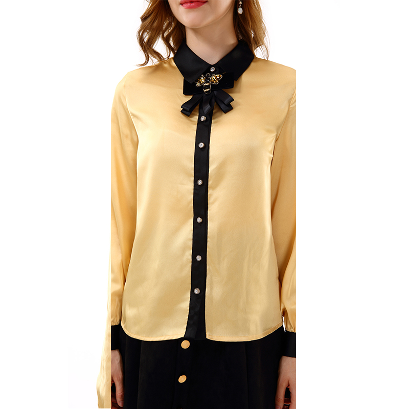 0d039f2b Apperloth Women Clothing Long Sleeve Blouse Bow Tie Neck Button Down  Chiffon Top Shirt for Office Lady Uniform Blouses 2018 -in Blouses & Shirts  from ...