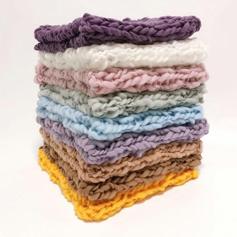 Crochet Baby Blanket Newborn Photography Props Knit Blanket Basket Filler Background mini blanket Photography Studio Accessories